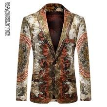 Vaguelette Luxury Printed Blazer Men Slim Fit Winter Jacket