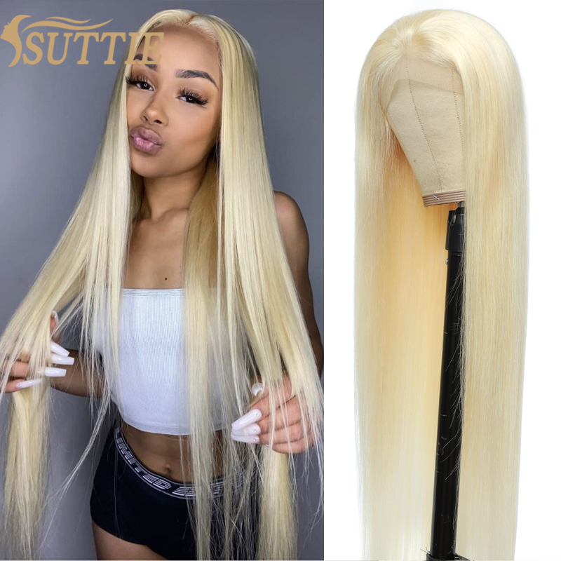 Suttie 613 Honey Blonde Front Wig Straight Lace Closure Frontal Human Hair Wigs 13x4 4x4 5x5 Transparent 30 Inch For Black Women