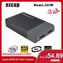Ezcap 261M Usb 3.0 Hd Video Capture 4K 1080P Game Live Streaming Video Converter Ondersteuning 4K video Input Mic In Voor Xbox Een PS4
