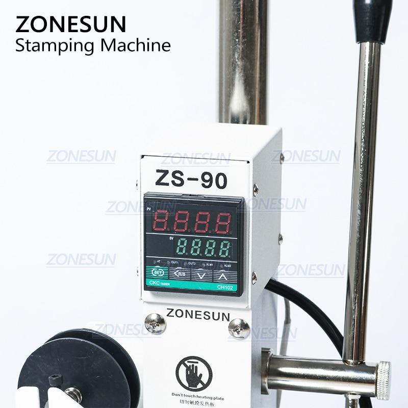 ZONESUN ZS90 Heißer Stanzen Maschine Für Leder Holz Bronzing Presse Maschine Heißer Folie Stempel LOGO Branding 500W 220V