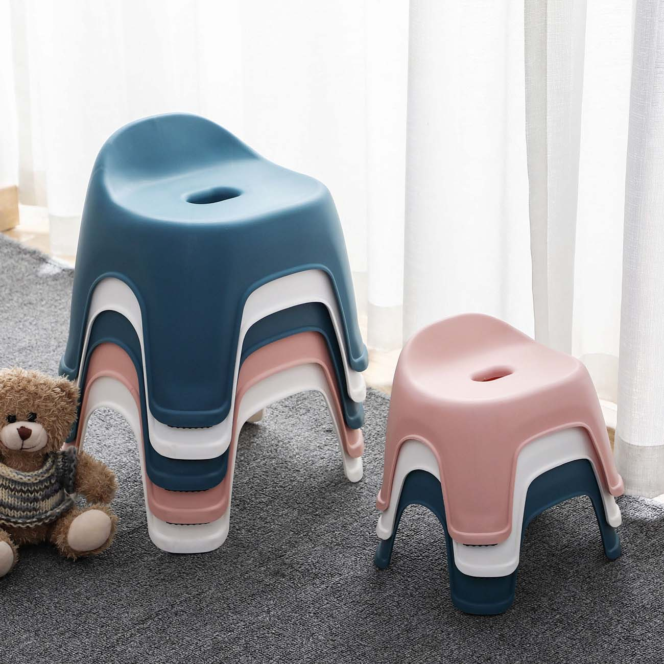Plastic Backrest Stool Living Room Non-slip Change Shoe Bench Kindergarten Kids Child Study Stool Household Thicken Square Stool