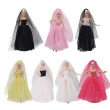 Свадебное платье вуаль набор принцесса вечерние бальные длинные платья юбка свадебная вуаль одежда для Барби Кукла Аксессуары Рождество DIY...
