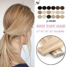 Мини-лента AW для наращивания человеческих волос, прибор для наращивания, невидимые человеческие волосы, бесшовные клейкие волосы, уток, бал...