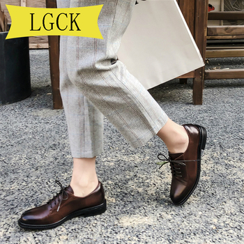 Plus Size 34-43 Women Oxford Shoes Flats Handmade Vintage Summer Spring for Woman Shoes Laces Loafers Brown Casual Flat Shoes