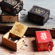Antique Carved Wooden Hand Crank Queen Music Box Game Of Thrones Dragon Ball TO MY Goigeous Wife Theme Music Box Christmas Gift antique carved wood star wars game of thrones music box hand crank theme music welcome to sell friends cooperation