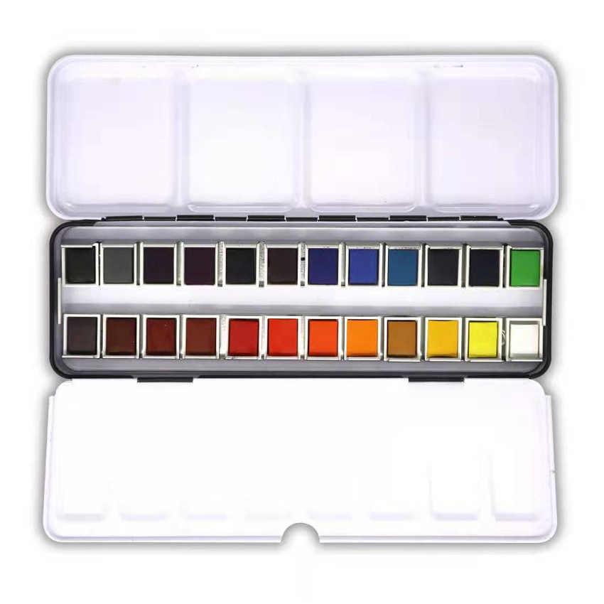 SeamiArt 12/24 renk katı suluboya Pan boya seti taşınabilir teneke kutu suluboya Pigment çizim suluboya kağıt sanat malzemeleri