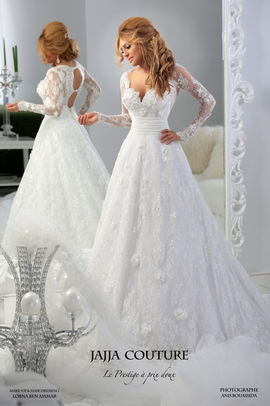 2016 New White Wedding Gown Deep V Neck Lace Appliques Beading Sequins Long Transparent Sleeve Cut Out Back Bridal Dresses Jajja