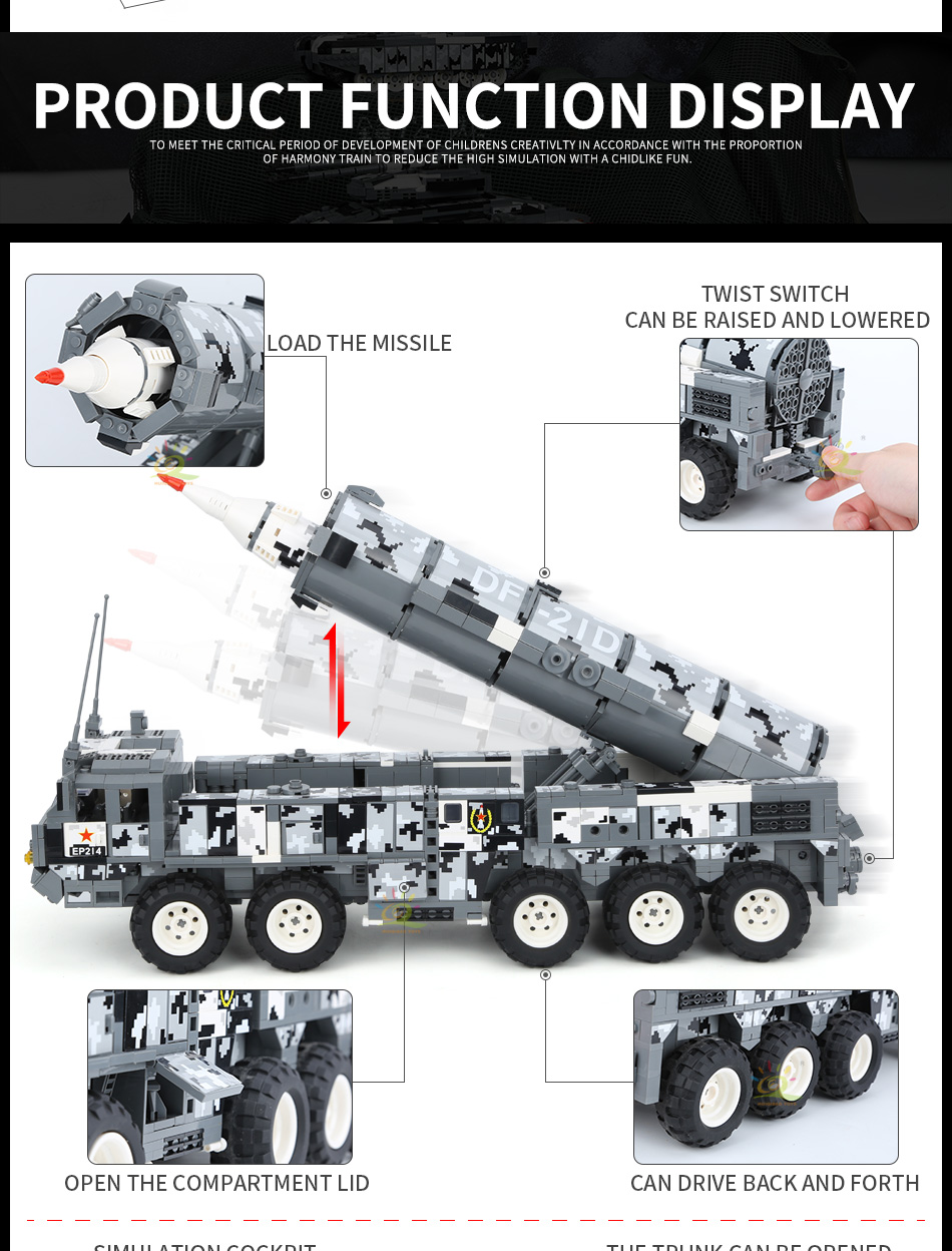 """конструктор huiqibao """"ракетовоз"""", 1564 шт."""