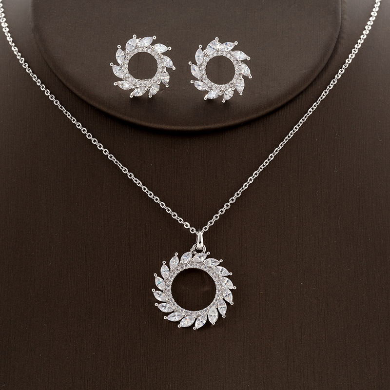 Conjuntos de jóias HADIYANA Cobre Duplo Clássico Rodada Brinco de Prata E Conjuntos de Colar de Jóias Mulheres Graça CN901 Accesorios Mujer