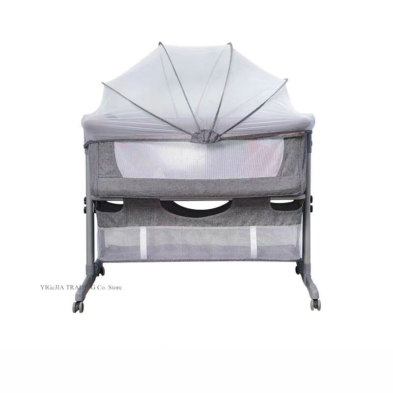 Multifunctional Baby Travel Bed With Portable Bag, Can Joint With Adult Bed, Easy Folding Portable Crib, 4 Grade Height Adjust
