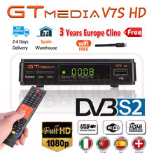 Hot Sale DVB S2 Gtmedia V7S HD Receptor Support 3 Years Europe Cline for Spain FTA Satellite TV Receiver Freesat V7 HD Decoder(China)