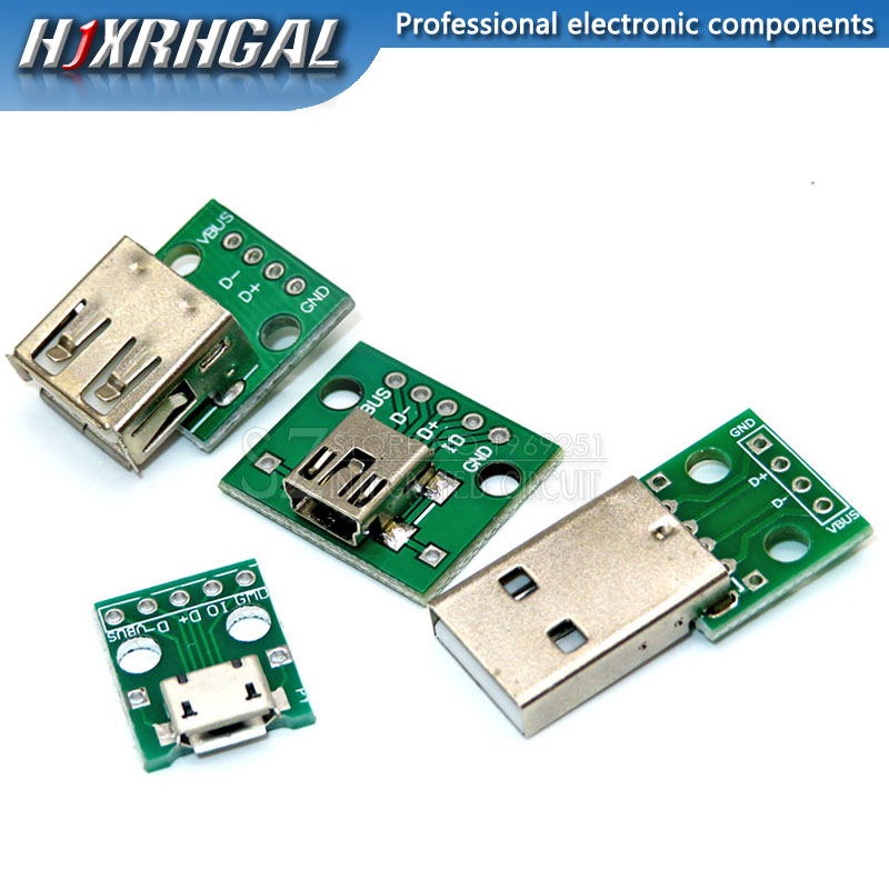 1PCS Micro Mini USB USB Male USB 2.0 Female USB Connector Interface To 2.54mm DIP PCB Converter Adapter Breakout Board Hjxrhgal