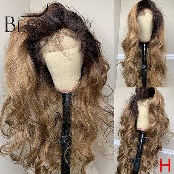 Beeos 180% 360 koronki przodu włosów ludzkich peruka ciało fala kolor Ombre wstępnie oskubane z dzieckiem włosy bielone węzłów brazylijski Remy włosy