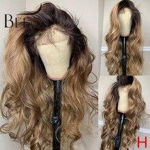 Омбре медовая Блондинка 180% 360 кружевной передний парик из человеческих волос волна тела цвет Омбре предварительно выщипанные Детские волос...