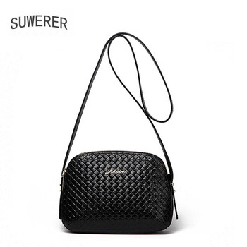 SUWERER 2020 New Women Genuine Leather bag cowhide bag fashion Weave women leather shoulder Shoulder Bags