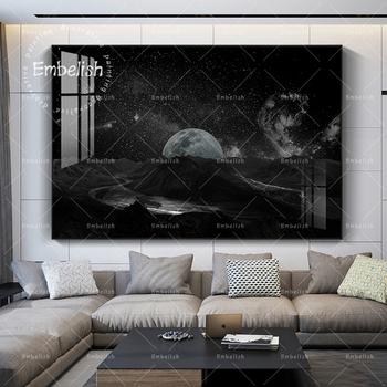 1 sztuk streszczenie gwiaździste niebo i księżyc krajobraz HD druk na płótnie obrazy olejne do salonu Home Decor obrazy na ścianę tanie i dobre opinie CN (pochodzenie) Wydruki na płótnie Pojedyncze PŁÓTNO Wodoodporny tusz bez ramki Nowoczesne H-1202 Malowanie natryskowe