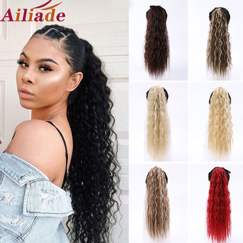 Afro Curly Long Drawstring Ponytail Synthetic Hairpiece Pony Tail Hair Piece For Women Fiber Fake Bun Clip In Hair Extension elegant long synthetic stylish long shaggy curly clip in hair extension for women