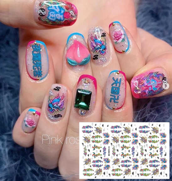 MG190510-14 Neon Brief Newestflower Japan Ontwerpen Cross 3d Nail Art Stickers Decal Template Diy Nail Tool Decoraties