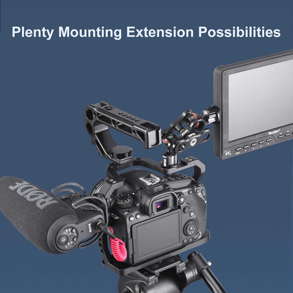 Uurig Aluminium Kamera Cage untuk Canon EOS 90D/80D/70D dengan Dingin Sepatu Gunung ARRI Lubang 1/4 3/8 sekrup untuk Mikrofon Monitor LED