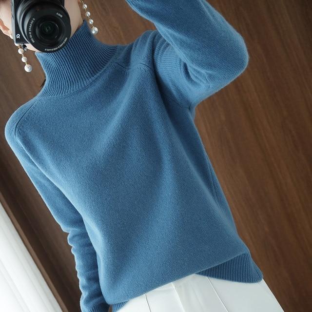 Женский кашемировый свитер с высоким воротником и длинными рукавами 6