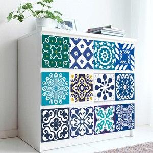 Марокканский стиль этнические Цветочные плитки настенные стикеры кухонный шкаф для ванной комнаты линия талии домашний декор водонепрони...