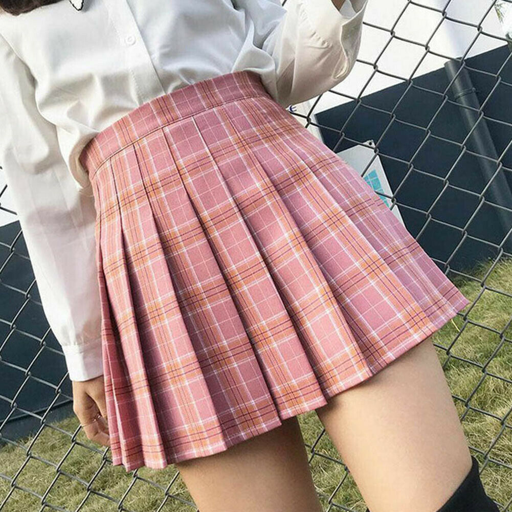 Women Kawaii High-waist Pleated Zip Tennis Mini Skirts Chic Stitching Skater Cute Sweet Girls Dance Skirt Female Mini Skirts