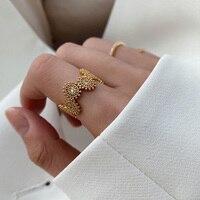Anillo de dedo de circón delicado para mujer, sortija de dedo con diseño decorativo Vintage, de flores bohemias
