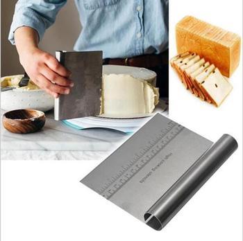 Smoother Edge ciasto skrobak ze skalą nóż do pizzy mąka krajalnica wielofunkcyjne ciasto ze stali nierdzewnej lody szpatułki narzędzie do ciasta tanie i dobre opinie CN (pochodzenie) Siekacze do ciasta Ekologiczne A1H3C5N04 Metal Narzędzia do pieczenia i cukiernicze