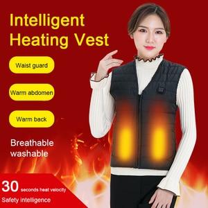 Men Women Autumn Winter USB Charging Heating Vest Smart Electric Heating Vest Warm Vest 5 Zone Heating Coat Washable Thermal