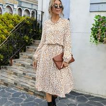Vestido largo sencillo con estampado de lunares para mujer, vestido largo con botón de encaje a la moda con cuello levantado, Vestido de manga larga para primavera y otoño 2021