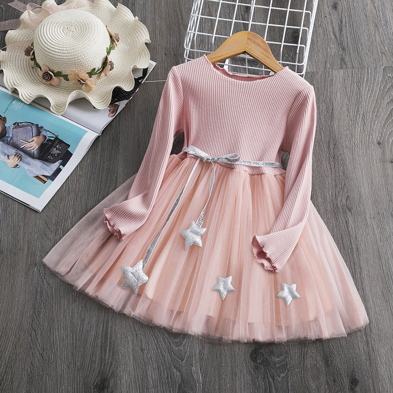 New Arrival Petal Sleeve Girls Spring Summer Dress Flower Wedding Dresses Solid Children Party Costumes Kids Baby Clothing 3 7Y 6