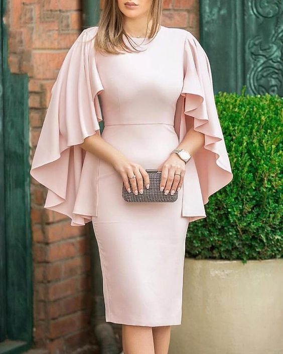 Short Mother Of The Bride Dresses 2019 With Capelet Light Pink Knee Length Wedding Party Kurti Vestidos De Madrinha Farsali