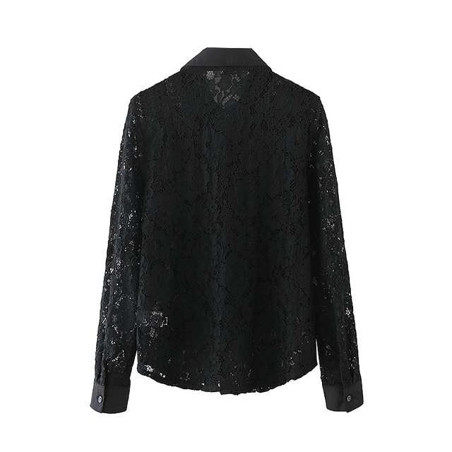 Elegant Hollow Out Shirt in black