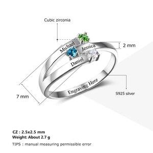 Image 3 - 925 Sterling Silver spersonalizowane nazwa rodziny grawerowane pierścienie dla kobiet klienta 3 Birthstones matki pierścień Fine Jewelry (RI102505)