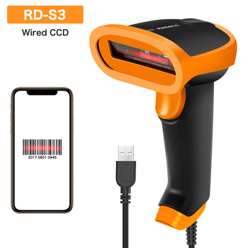 цена на RD-S3 Portable Handheld CCD Barcode Scanner Wired 1D bar Code Reader USB cable bar code Scanner for Inventory & screen payment