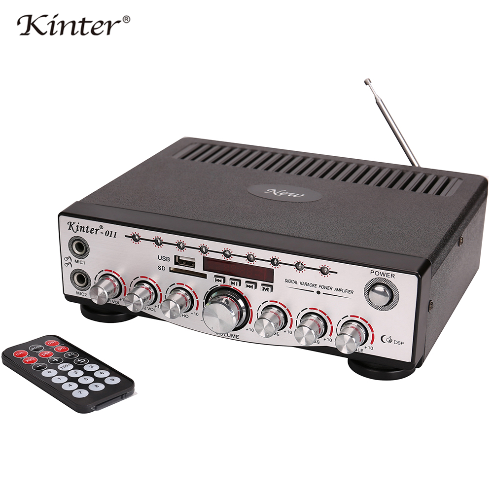 Kinter 011 hifi stereo sound karaoke Amplifier audio 2.0 channel supply power AC and DC12V offer USB SD Mic input use in home Amplifier     - title=