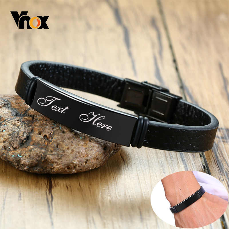 Vnox Mens Black Leather Bracelet Free Custom Engrave Messages with Stainless Steel ID Tag Jewelry