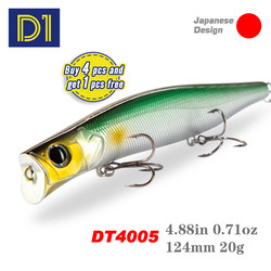 D1 Topwater Popper Fishing Lures KAGELOU 124F 20g Hard Baits Saltwater Wobblers Seabass Trout Pesca Fishing Tackle