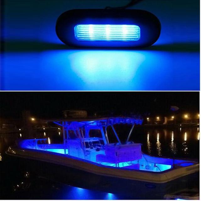 4x 3 LED 12V Boat Stair Deck Side Marker Light Courtesy Lights Indicator Turn Signal Lighting Marine Boat Accessory Taillight 1