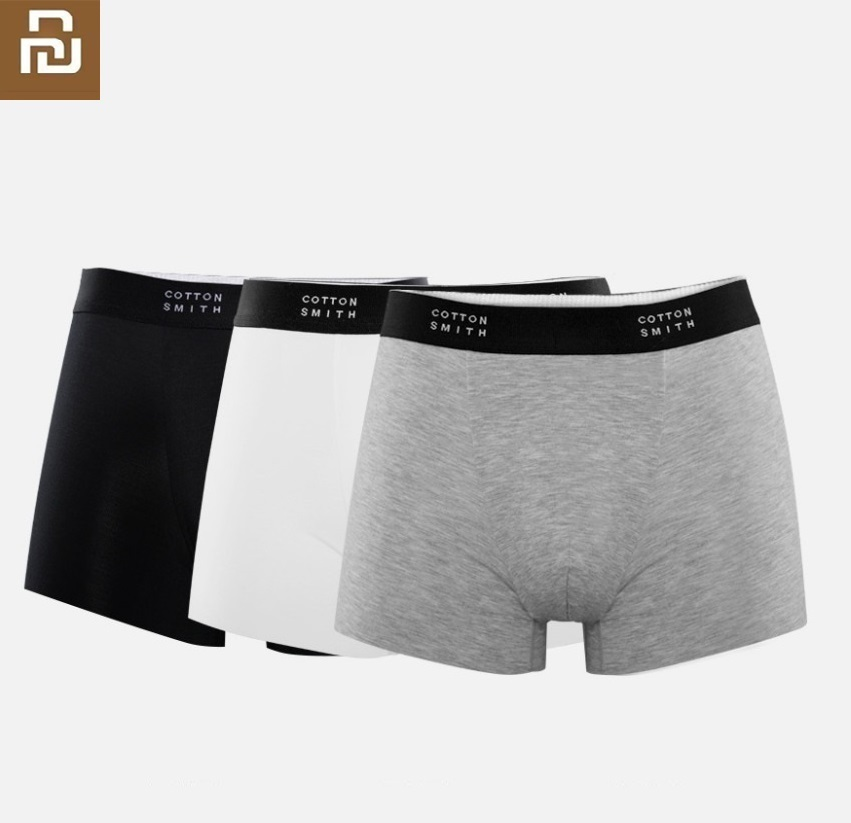 Youpin New Men Boxer Briefs 3pcs High Elasticity Soft No Trace Silky Male Four Corners Shorts COTTONSMITH Underpants Knickers
