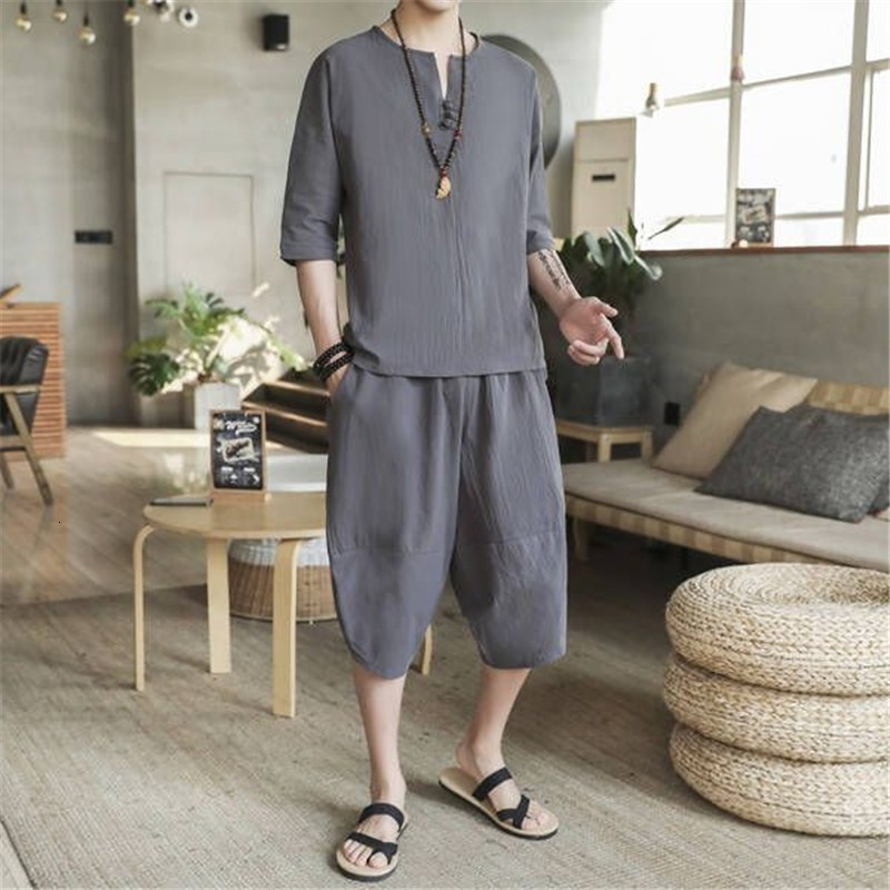 Summer Mens Cotton Linen Two Piece Set Drop Crotch Harem Pants Tracksuit Men Plus Size 5XL Ropa Deportiva Hombre Clothing Sets