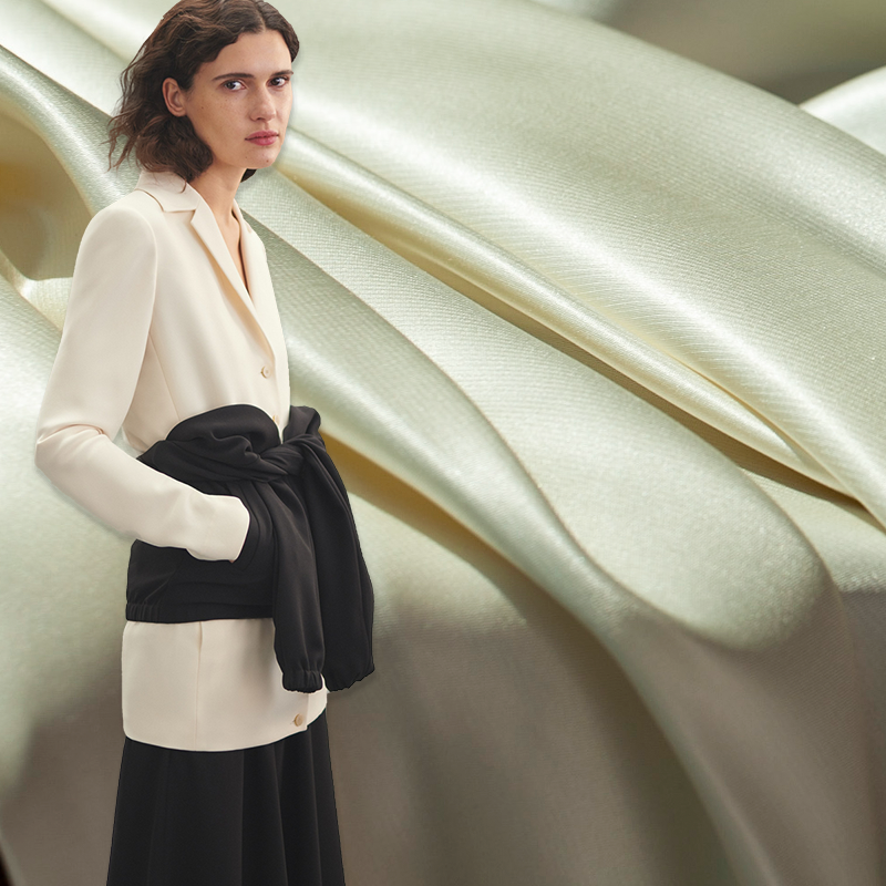 Tissu de satin de soie pure lourde blanc perle solide texture teinte en fil, 30momme, couture pour costumes, robe, jupe, veste, artisanat par la cour