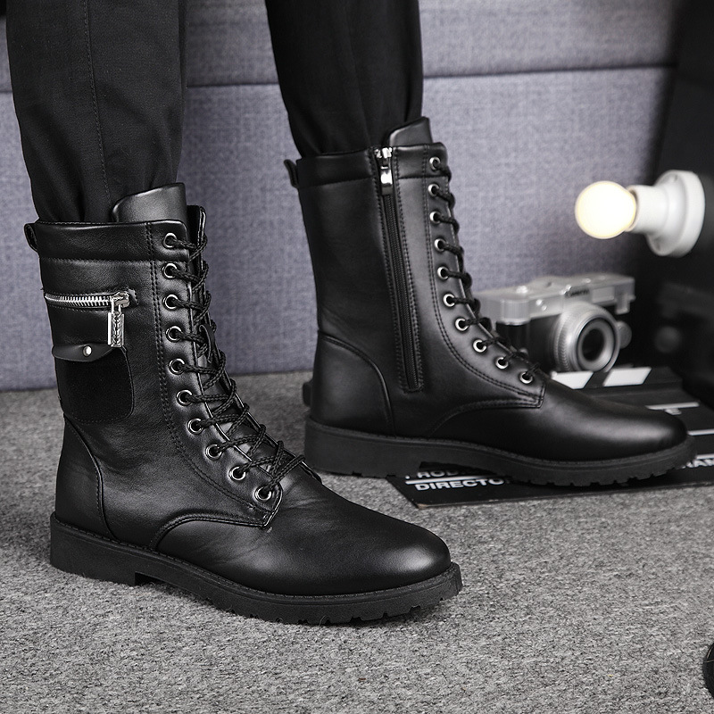 Brand Army Boots Men Chain Military Mens Boots Skull Metal Buckle Lace Up Male Motorcycle Punk Boots Men's Shoes Rock 2019