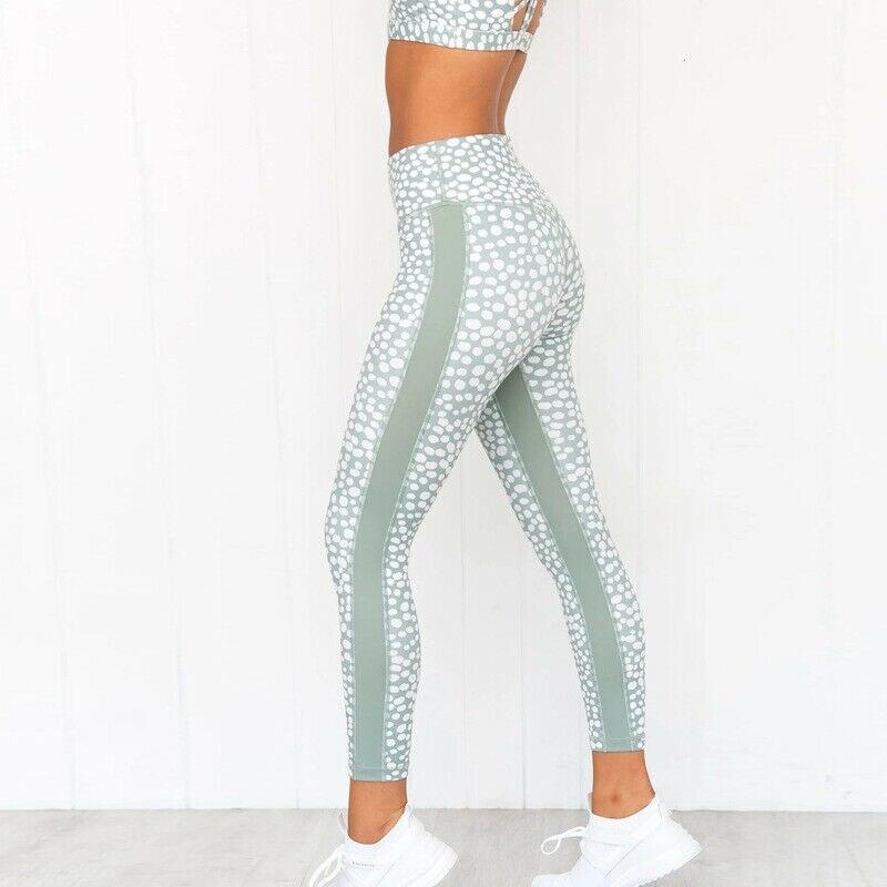 Ladies Fashion Leggings Trousers High Waist Skinny Stretch Leggings Long Pants Dot Running Workout Gym Sports Pants Trousers