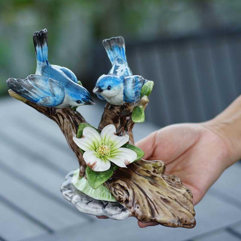 2  Hand Painted Blue Vase Dollhouse Miniatures Ceramic Flower Deco