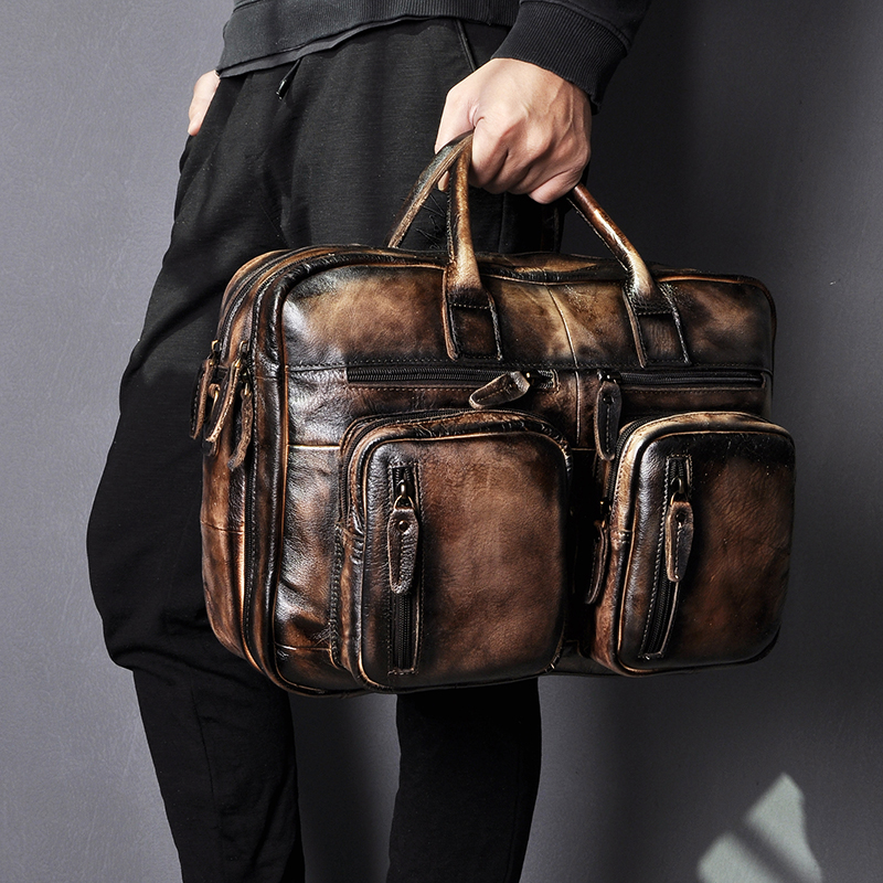 Original Leather Man Design Multifunction Purpose Maletas Maletin Business Briefcase 15
