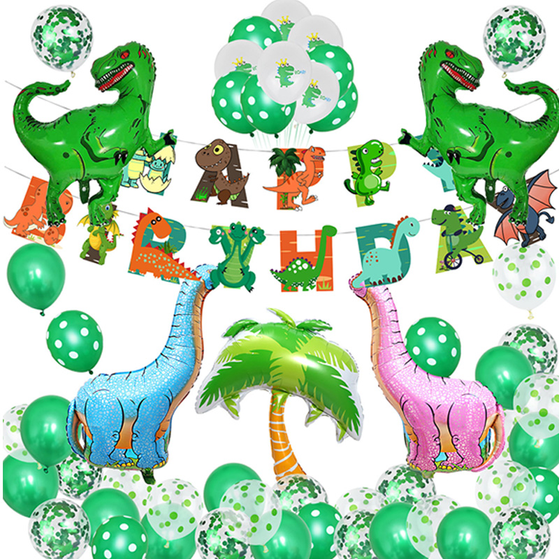 Dino Party Theme Foil Balloons Dinosaur Pull Flag Paper Cup Straw for Kids Birthday Party Baby Shower Decoration Children Party