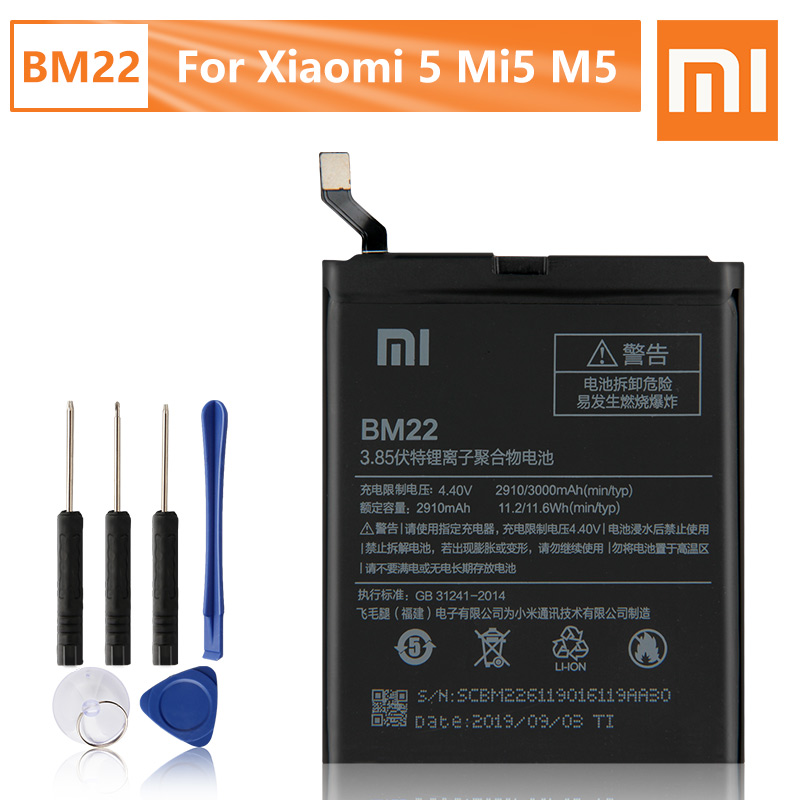 Xiao <font><b>Mi</b></font> Original BM22 <font><b>Battery</b></font> For XiaoMi <font><b>5</b></font> Mi5 M5 first Genuine Replacement Phone <font><b>Battery</b></font> 3000mAh With Free Tools image