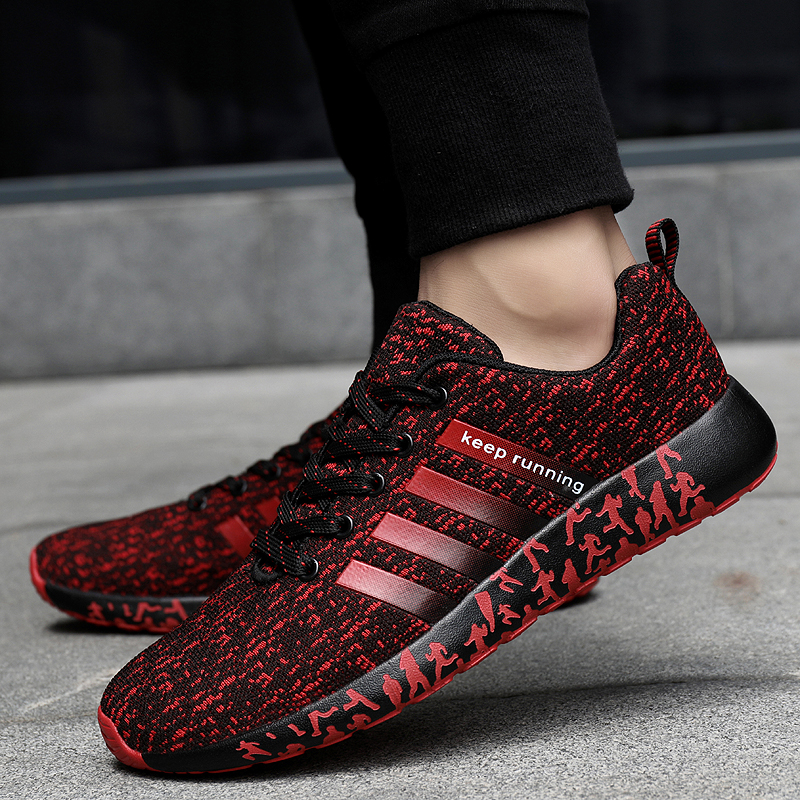 Image 2 - 2019 New Autumn Fashion Men Flyweather Comfortables Breathable Non leather Casual Lightweight Plus Size 47 Jogging Shoes men 39S-in Men's Casual Shoes from Shoes