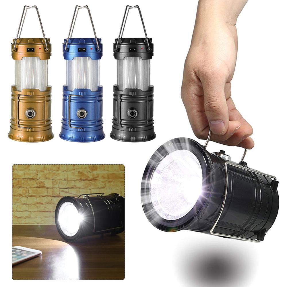 Portable Solar Camping Tent Light Flame Lamp Lantern Flashlight Retractable Emergency lighting Camping Light Lantern Dropship(China)